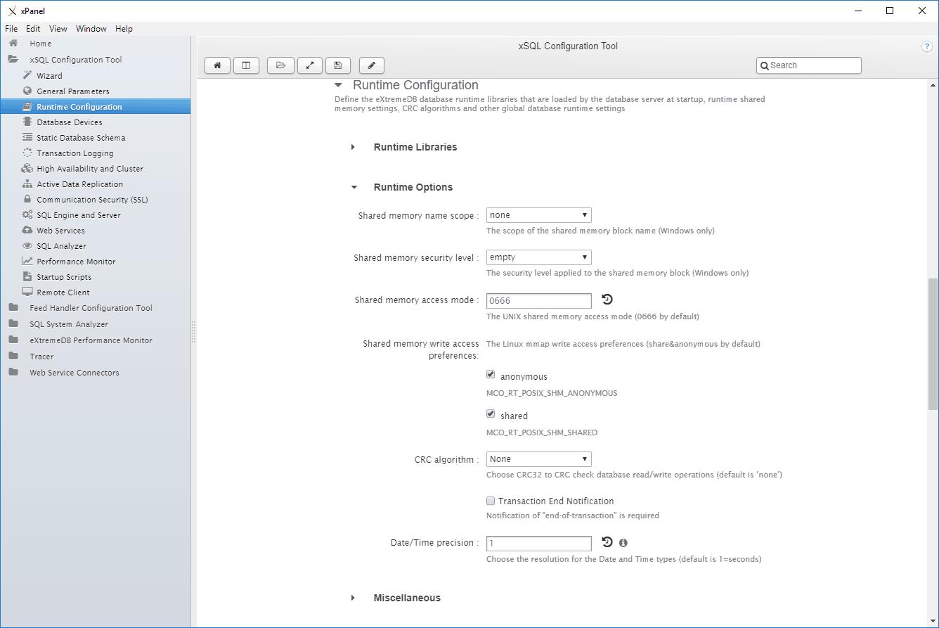 The eXtremeDB xPanel xSQL configuration tool